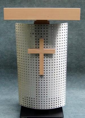 Pupitre de conférence COURBEVOIE vue de face avec crucifix